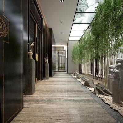 中式, 过道, 柱子, 雕塑, 摆件