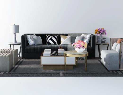 后现代沙发, 布艺沙发, 双人化肥, 单人沙发, 茶几, 台灯, 边几, 地毯