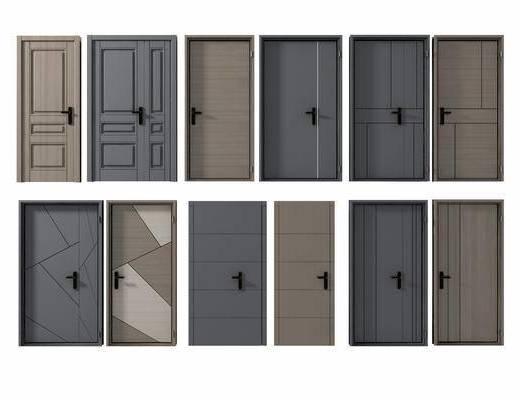 子母门组合, 单扇门, 门组合, 现代