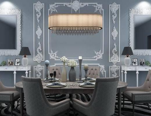 桌椅组合, 餐桌, 欧式桌椅组合