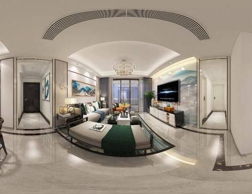 新中式客廳, 客廳, 沙發組合, 餐廳, 餐桌椅