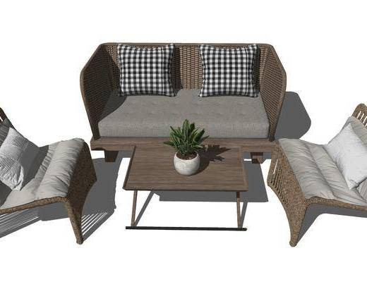 沙发组合, 茶几, 摆件组合, 植物