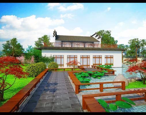 花园庭院, 园林, 草地, 绿植植物, 树木, 灌木, 门面门头, 中式