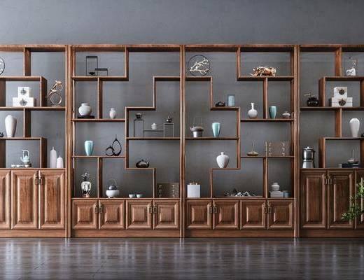 装饰品, 摆件, 花瓶, 绿植, 柜架组合, 博古架