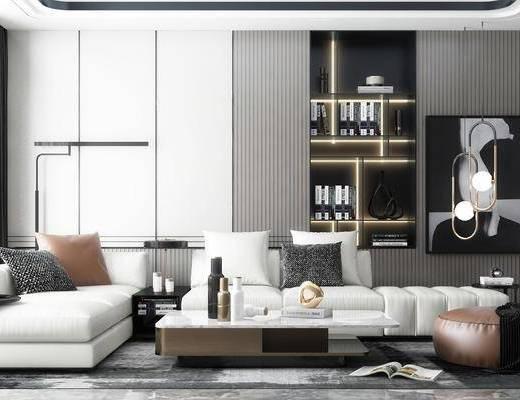 沙發組合, 茶幾, 擺件組合, 吊燈