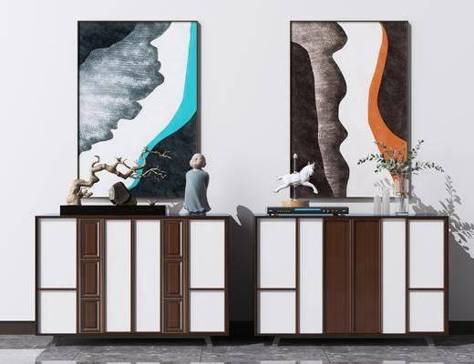 邊柜, 裝飾畫, 擺件組合, 矮柜, 裝飾柜, 端景柜