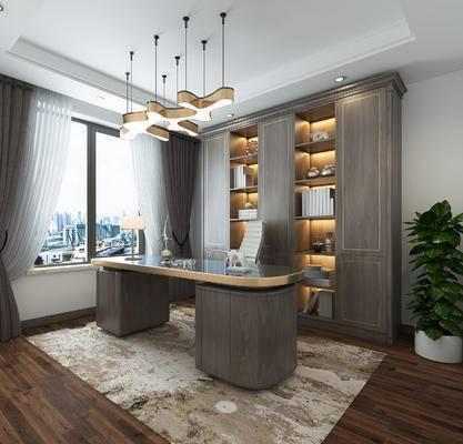 书桌, 桌椅组合, 吊灯, 书柜, 植物