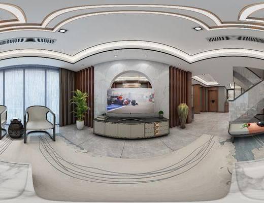 现代客厅, 客厅, 沙发组合, 餐桌椅, 桌椅组合, 港式