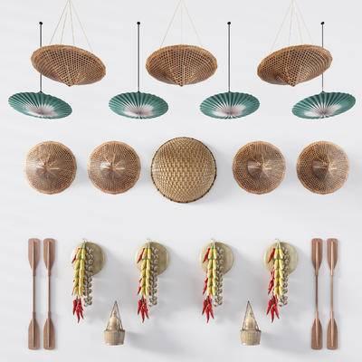 中式, 斗笠, 油纸伞, 玉米, 辣椒, 蒜头, 墙饰, 挂件