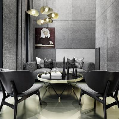 现代北欧, 沙发组合, 灰色沙发, 单人椅, 吊灯, 挂画, 北欧