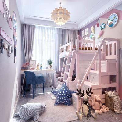 臥室, 兒童房, 上下床, 書桌, 單人椅, 玩具, 玩偶, 墻飾, 吊燈, 擺件, 裝飾品, 陳設品, 北歐