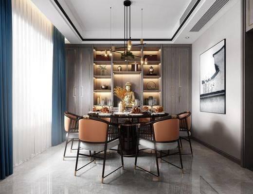 餐桌, 桌椅组合, 装饰画, 吊灯, 置物柜