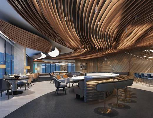 餐厅, 餐桌, 餐椅, 单人椅, 吧台, 吧椅, 落地灯, 装饰画, 挂画, 照片墙, 休闲椅子, 餐具, 现代