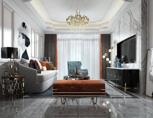 客厅, 多人沙发, 茶几, 单人沙发, 边几, 台灯, 人物画, 吊灯, 电视柜, 边柜, 壁灯, 落地灯, 装饰画, 挂画, 现代轻奢