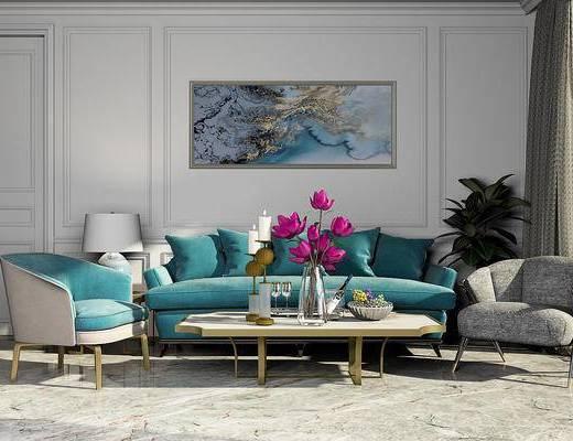 简欧, 沙发组合, 挂画, 植物, 摆设