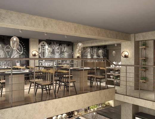 餐厅, 工业风餐厅, 主题餐厅, 桌椅组合, 单椅, 黑板墙, 植物, 盆栽, 摆件, 装饰品, 工业风