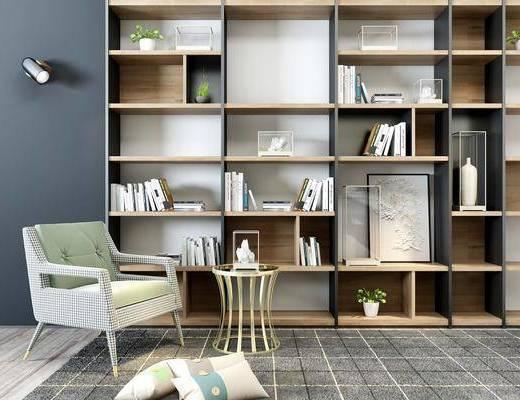 书柜, 装饰柜, 单人沙发, 边几, 书籍, 壁灯, 摆件, 装饰品, 陈设品, 北欧