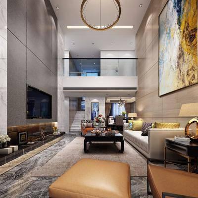 后现代客餐厅, 后现代, 客厅, 沙发, 吊灯