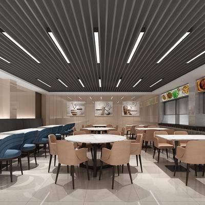 现代, 餐厅, 餐具, 桌子, 椅子, 单椅, 卡座, 取餐区, 展示牌