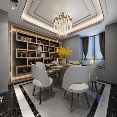 餐厅, 餐桌, 餐椅, 摆件, 吊灯, 装饰架, 现代