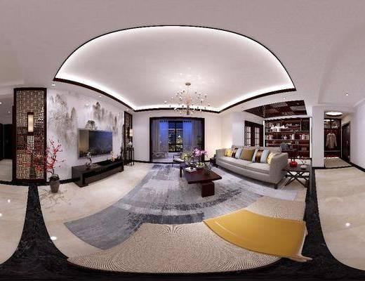 新中式客厅, 新中式餐厅, 新中式书房, 多人沙发, 茶几, 沙发茶几, 电视柜, 吊灯, 桌椅组合, 餐桌, 椅子, 书柜
