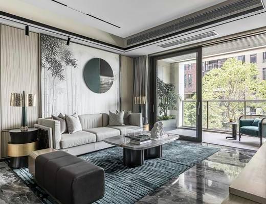 沙发组合, 墙饰, 茶几, 摆件组合, 边几, 台灯