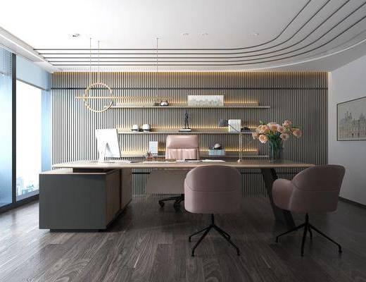 大班台, 桌椅组合, 电脑桌, 吊灯, 装饰画, 单椅