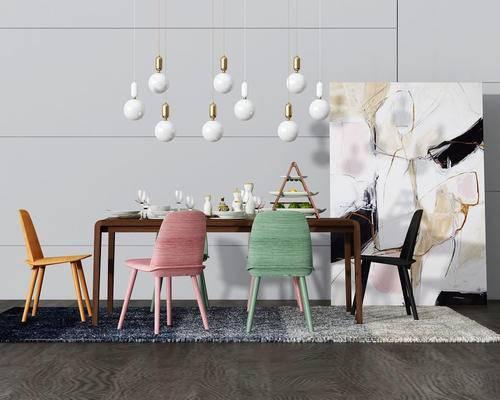 餐桌椅, 桌椅组合, 吊灯, 装饰画, 椅子, 桌子, 现代