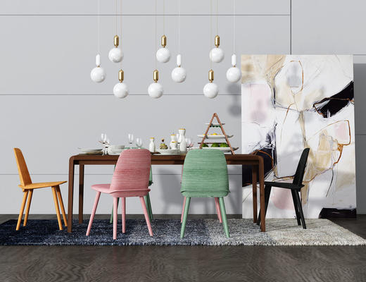 餐桌椅, 桌椅组合, 吊灯, 装饰画, 椅子, 桌子