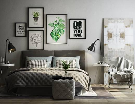床头柜组合, 北欧卧室, 现代卧室, 照片墙