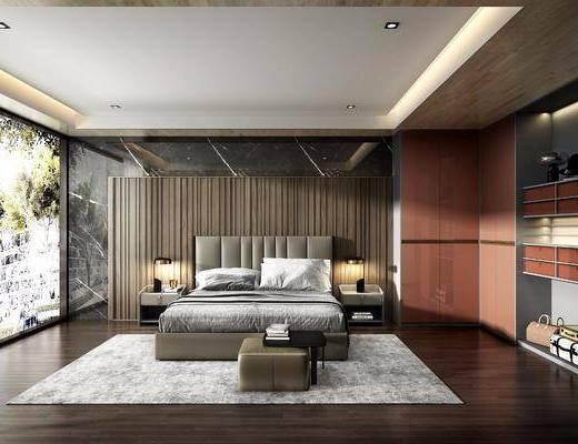 现代卧室, 轻奢卧室, 现代轻奢卧室