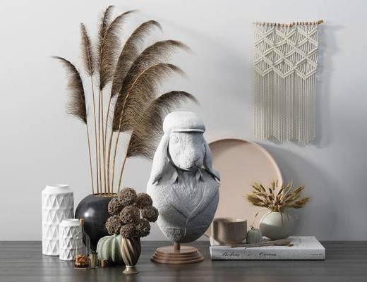 摆件组合, 花瓶, 植物, 装饰品