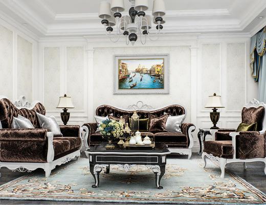 欧式沙发组合, 沙发, 吊灯, 客厅, 茶几, 边几, 台灯, 装饰品