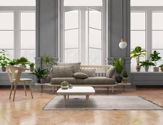 沙發茶幾, 沙發組合, 盆栽組合, 北歐