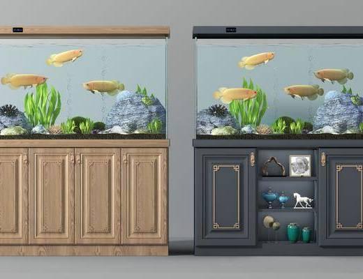 鱼缸组合, 水生动物, 摆件, 新中式