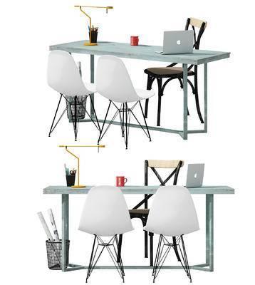 办公桌椅, 桌子, 椅子, 单椅, 休闲椅, 电脑, 台灯, 办公用品