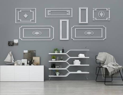 置物架, 边柜, 单人椅, 石膏雕花, 墙饰, 装饰架, 现代