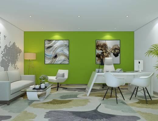 现代, 办公室, 装饰画, 地毯