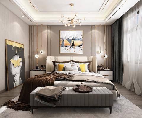 双人床, 床尾踏, 装饰画, 吊灯, 床头柜