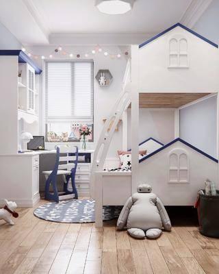 儿童房, 上下床, 北欧儿童房