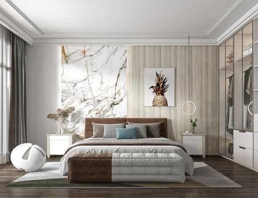 双人床, 装饰画, 床头柜, 衣柜, 花瓶, 吊灯