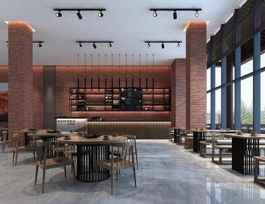 餐厅, 桌椅组合, 收银台, 吊灯, 装饰画