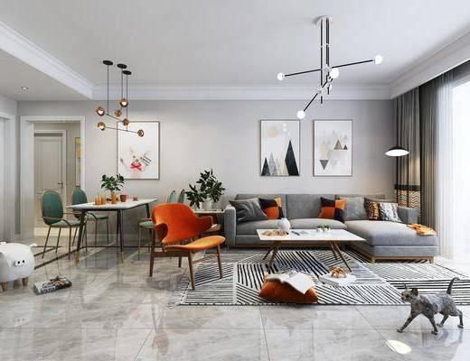 客厅, 餐厅, 多人沙发, 转角沙发, 布艺沙发, 装饰画, 挂画, 吊灯, 茶几, 单人椅, 餐桌, 餐椅, 落地灯, 北欧