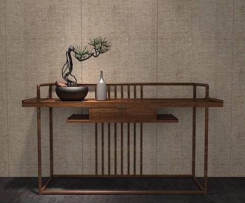 新中式, 端景台, 绿植, 摆件