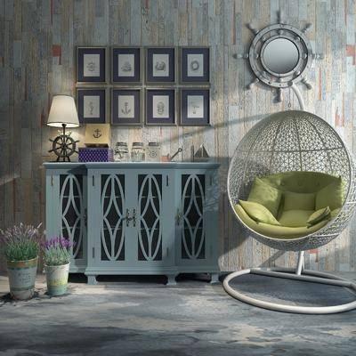 装饰柜, 摆件, 边柜, 田园风边柜, 摇椅, 田园风, 美式, 美式边柜