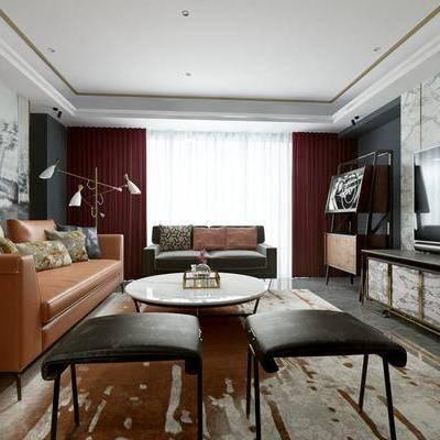 现代, 客厅, 沙发, 茶几, 现代客厅, 现代沙发