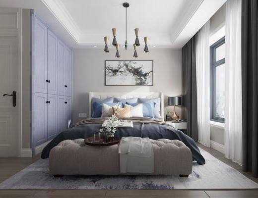 现代卧室, 现代床具, 现代吊灯, 床头柜, 衣柜, 床尾踏, 台灯