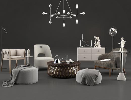 现代, 单椅, 边柜, 凳子, 灯具, 茶几