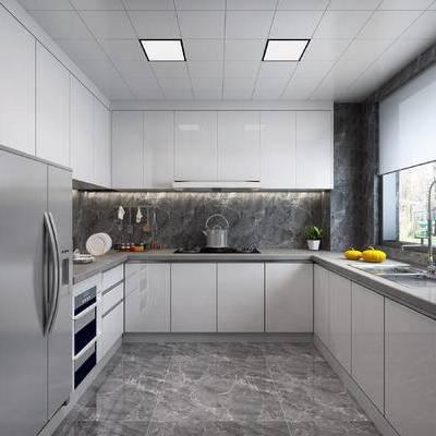 现代, 厨房, 厨具, 橱柜, 水槽, 冰箱, 餐具