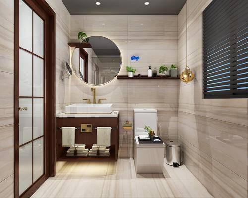 中式, 卫生间, 洗手台, 镜子, 便器
